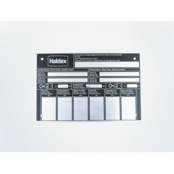 Haldex 028027909 DATA PLATE MECHANICAL