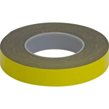 GLU24 D/SIDED ADHV FOAM TAPE YELLOW 25MMX10M 2