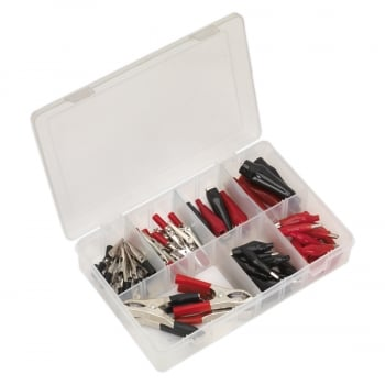 AB023CA CROCODILE CLIP ASSORTMENT 60PC RED  BLACK