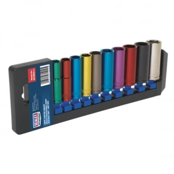 AK285D MULTI-COLOURED SOCKET SET 10PC 3/8 SQ DRIVE