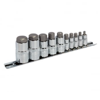 AK6229 HEX SOCKET BIT SET 10PC STUBBY 1/4""