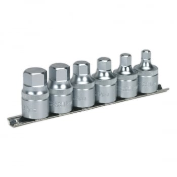AK6561 6PCE STUBBY HEX SOCKET SET 1/2 DR C/W RAIL