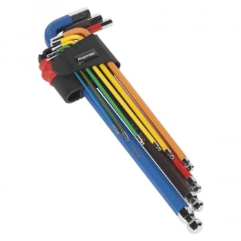 AK7191 BALL-END HEX KEY SET 9PC COLOUR-CODED EXTRA-L