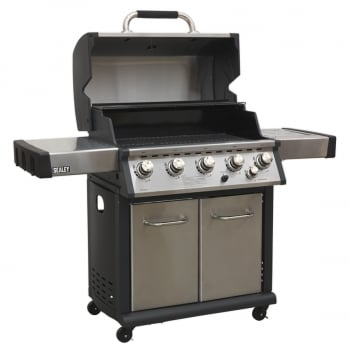 BBQ12 GAS BBQ STAINLESS STEEL 5 BURNER + SIDE BURNE