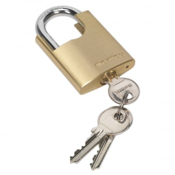 PL105 BRASS BODY PADLOCK SHROUDED SHACKLE 50MM
