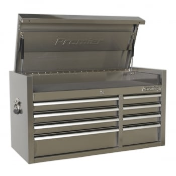 PTB104008SS TOPCHEST 8 DRAWER 1055MM STAINLESS STEEL HEAV
