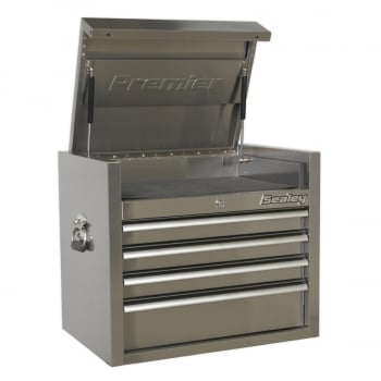 PTB66004SS TOPCHEST 4 DRAWER 675MM STAINLESS STEEL HEAVY