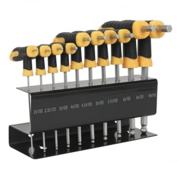S01150 BALL-END HEX KEY SET 10PC T-HANDLE METRIC