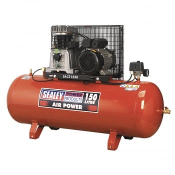 SAC2153B COMPRESSOR 150LTR BELT DRIVE 3HP WITH CAST CY