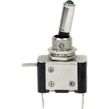 EC65A 12V LED METAL TOGGLE SWITCH - GREEN